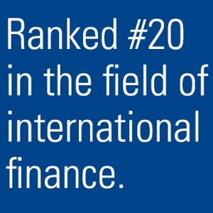 Ranked #20 in the field of international finance.